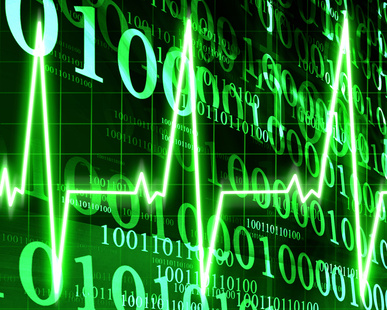 Heart monitor on a dark green background