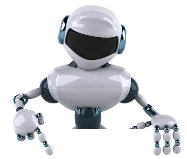 Robot avec un panneau blanc