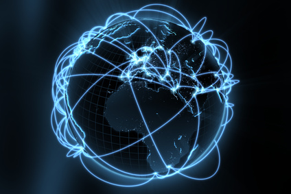 3d illustration/render of a global network