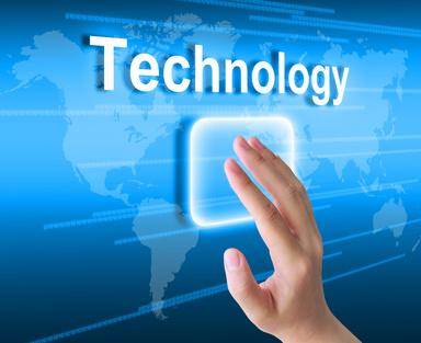 hand pushing technology button on a touch screen interface